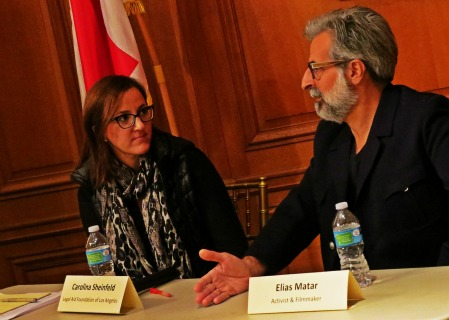 syrian refugee panelist, carolina and elias, Dec. 2015